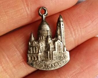 """Rare Antique French Religious Medal """"Montmartre"""" Sacré-Cœur Paris Basilica Pendant Virgin Mary Our Lady Double Side Catholic Saint Christian"""
