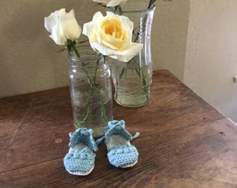 Crocheted espadrille baby bootie // cotton sandal with ankle strap // pastel blue