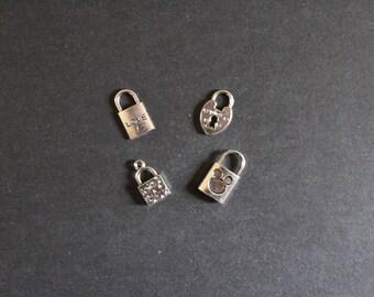 4 charms silver padlock (love,...)