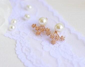 Jacket earrings, Rose gold earrings, Cuff earrings, Rose gold pearl earrings, Flower earrings, Rose gold flower jewelry, Pearl earrings