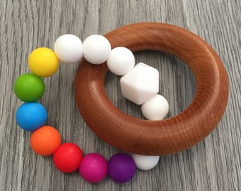 Wooden Ring Teether With Silicone Beads