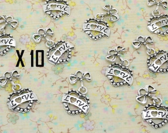 10 x charm articulated heart LOVE Word text inscription love and little Silver Bow
