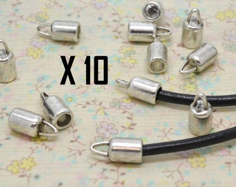 10 x round tip silver leather large hole tube size 4mm