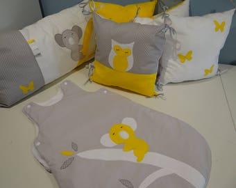 tour de lit nuages rose gris et blanc. Black Bedroom Furniture Sets. Home Design Ideas