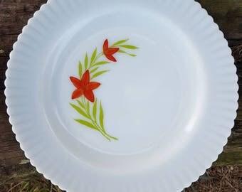 1930s MacBeth Evans petalware florette milk glass dinner plate set of 2 vintage kitchen