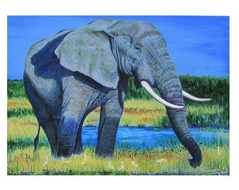 A4 Giclée Print entitled 'African Elephant with Cattle Egrets' from an original acrylic painting by artist Martin Romanovsky