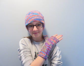 Hat and gloves without fingers/multicolor/woman/teen