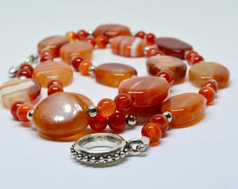 Red banded agate necklace, agate necklace, red necklace, red agate necklace, beaded necklace, gemstone necklace, semiprecious stone necklace
