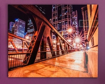 CHICAGO CLARK STREET Bridge Metal Aluminum Photo Float Print