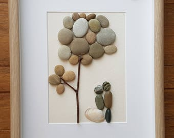 Pebble Art couple kissing pebble tree, mother's day,  wife, girlfriend, boyfriend anniversary engagement  wedding Valentine's Day home decor