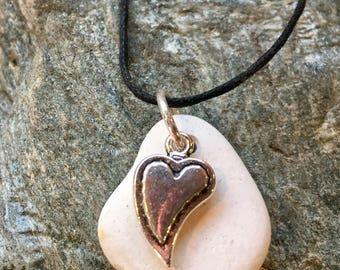 love heart necklace, mothers day gift, scottish gifts, gift for her, sea pottery necklace, sea pottery jewellery, beach pottery necklace