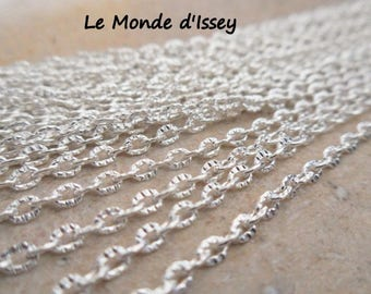 1 m chain plated silver textured 2mmx3mm