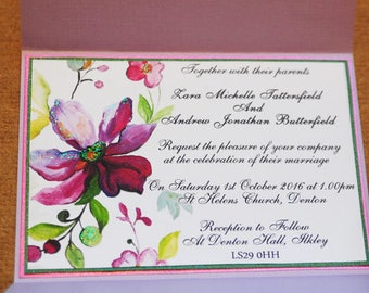 Personalised Hand Painted Blooms Collection, Wedding Invitation Bright Watercolour Floral