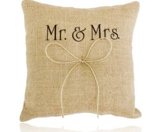 In Mr and Mrs burlap wedding ring cushion