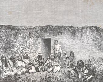 Houses and Inhabitants of Jericho, Palestine 1882 - Old Antique Vintage Engraving Art Print - Men, Women, Child, Traditional, Bricks, House