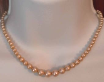 Necklace - Faux Pearl 16 inch Vintage Choker Necklace