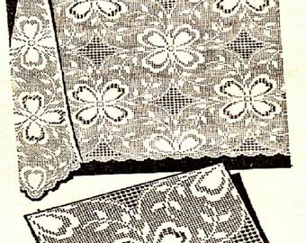 PDF Filet Crochet Pattern, Flower Tablecloth Square