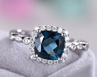 London Blue Topaz Engagement Ring 925 Sterling Silver White Yellow Rose Gold Cushion CZ Diamond Halo Art Deco Wedding Band Women Promise Set