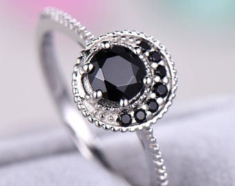 Black CZ Diamond 925 Sterling Silver White Gold Unique Engagement Ring Cluster Cubic Zirconia Wedding Bridal Anniversary Gift Milgrain Deco