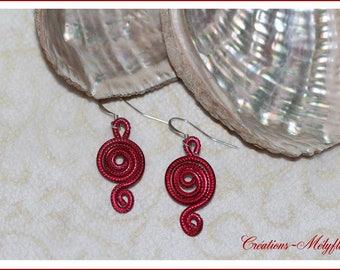 Earrings, red, very light