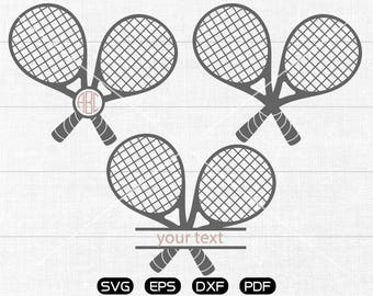 Tennis Racket SVG Files, Tennis Monogram Frame svg, Tennis Clipart, cricut, cameo, silhouette cut files commercial &  personal use