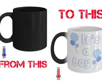 gender reveal mug for boy - heat sensitive colour change - 11oz size