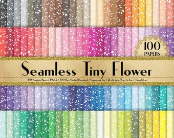 "100 Seamless Tiny Flower Papers in 12"" x 12"", 300 Dpi Planner Paper, Scrapbook Paper,Rainbow Paper,100 Flower Papers"