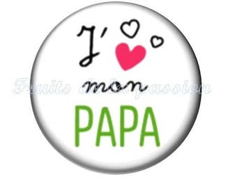 1 cabochon 25mm round glass dad mother father, white