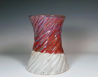 Red Ceramic Vase / Ceramic Flower Vase / Carved Vase / Textured Vase / Crackle Vase / Handmade Ceramic Vase