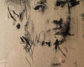 Ink Engravings/Litho Young Woman Illerg. L. Kroll