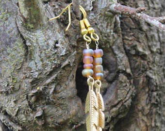 """Earrings """"Feathers"""" - color gold"""