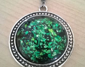 Glitter pendant necklace cabochon 3cm