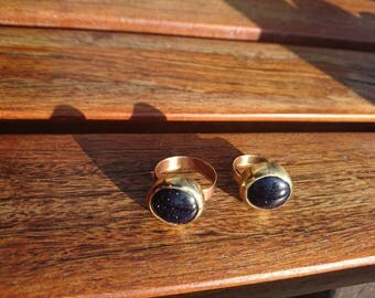 Brass with round Blue Goldstone cabochon brass ring re-purposed,recycled,up-cycled Brass