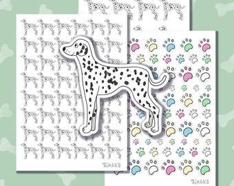 Set of cute stickers with cartoon dogs. Breed dalmatian. Colored paws.