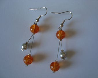 Earrings, orange and gray