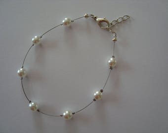 Wedding white Glass Bead Bracelet