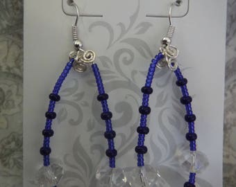 Tear Drop Blue and Clear Crystal Earrings