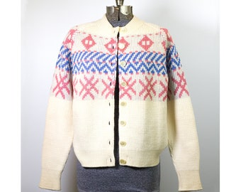Vintage CARDIGAN Avon Knit 100% Botany Wool Thick Chunky Knit White Pink and Blue GEOMETRIC BOHO Sweater Button Front Jumper Size Medium
