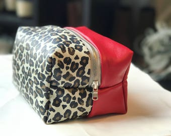 Animal Cookies - Red and Leopard Printed Leather Stash Bag