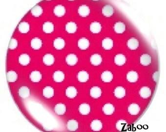 1 cabochon 30mm glass, hot pink polka dots