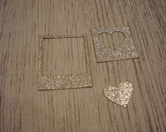 Lot 3 pieces of paper has glitter adhesive 01321 a cut out of wood for creating your scrapbooking crafting