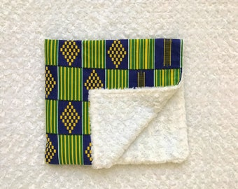 African Print Baby Blanket--Personalized; kente cloth blanket; African baby blanket; African blanket; African quilt; Green and Blue quilt