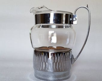 Vintage Hellerware Glass and Chrome Pitcher