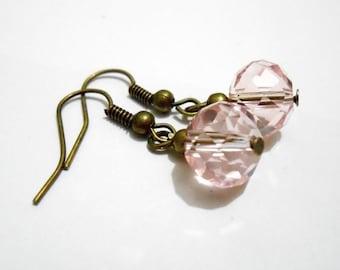 Pale pink abacus bead earrings