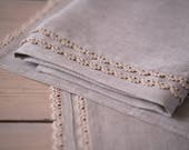 100% linen face, hand and bath towels with handmade lace trim