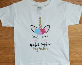 Unicorn girls shirt/Big Sister Shirt
