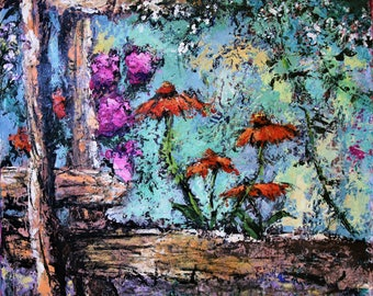 Acrylic Palette Knife Impressionist Floral Painting