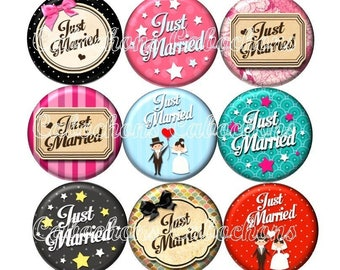 Set of 15 cabochons 18mm glass, wedding, Just married ZC196