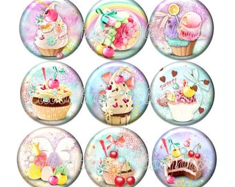 Set of 15 cabochons 18mm glass, cakes, ice cream, sweets, pastel tone ZC114