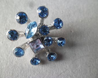 x 1 snap dandelion blue Rhinestones, 1 Purple Crystal silver plated 25 x 25 mm